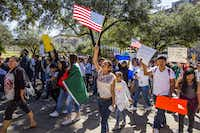 Protesters march in the streets outside the Texas State Capital on 'A Day Without Immigrants' February 16, 2017 in Austin, Texas. (Drew Anthony Smith/Getty Images)