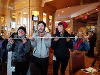 A locals  tradition is doing ski shots at Cinnabar, an apres ski spot with great live music at Earl's Lodge at Snowbasin, a great Utah ski resort. ((Robin Soslow))