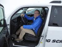 The author Larry Bleiberg at the Bridgestone Winter Driving School in Steamboat Springs, Colo.((Larry Bleiberg))