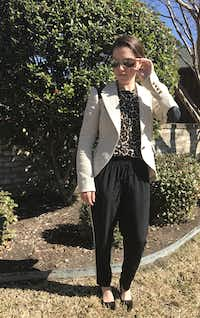 This is an outfit I wore to a lunch meeting recently: silk joggers with a tuxedo stripe, a leopard-print Merino wool sweater and a nubby linen equestrian blazer with leather elbow patches and panels. Black and neutrals bring cohesion to the ensemble.