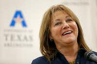 Grand Prairie Superintendent Susan Simpson Hull speaks during the partnership announcement between the University of Texas at Arlington and Grand Prairie ISD to promote future teachers who will return to the district once they've graduated from UTA.((Jae S. Lee/The Dallas Morning News))