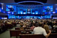 Greg Laurie speaks to congregants at Prestonwood Baptist Church in February 2016.(G.J. McCarthy/Staff Photographer)