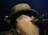 Bassist Dusty Hill and ZZ Top perform at the Music Hall at Fair Park in Dallas on Sept. 4, 2015. (Rose Baca/The Dallas Morning News)(Staff Photographer)