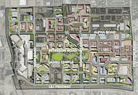 Proposed new streets and development of a larger region called the Midtown District that includes Valley View Center on the east side and Galleria Dallas on the west. Valley View Center, built in 1973, will be scraped.(Beck Ventures)