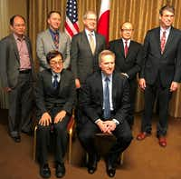 "<p><span style=""font-size: 1em; background-color: transparent;"">Dr. Hiroki Takeuchi (back row, from left), Howard Kass, Tim Keith, Junji Kurokawa and John Bowers, and (front row, from left) Dr. Haruo Iguchi and Joseph Young took part in the program by the Japan-America Society of Dallas Fort Worth. (Deborah Fleck / Staff)</span></p>"