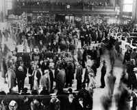 This 1932 photo from the Los Angeles Herald Examiner Collection of the Los Angeles Public Library shows hundreds of Mexicans at a Los Angeles train station awaiting deportation to Mexico.  (Los Angeles Herald Examiner Collection/Los Angeles Public Library via AP) (AP)