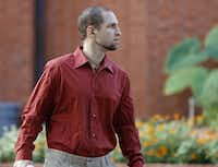 Charles Morehouse, 32, after serving a 15-year sentence, looks around after walking out of the Huntsville Unit in Huntsville, Texas on Aug. 31, 2015. Morehouse, who was charged with sexually assaulting his sister Glenna Morehouse when he was 14, a crime he denies committing, has been in out of prison for parole violations since being sentenced. After being sent back to prison in 2006, he has served his full sentence. His sister Glenna also believes he is innocent. (Rose Baca/The Dallas Morning News)
