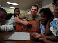 In 1998, Pierce was in charge of DISD's then-brand-new homeless after-school program. Nineteen years later, he's dealing with a brewing catastrophe, and he's in need of more than a guitar. (File Photo/Staff)