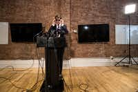 Milo Yiannopoulos announces his resignation from Brietbart News during a press conference, February 21, 2017 in New York City. (Drew Angerer/Getty Images)