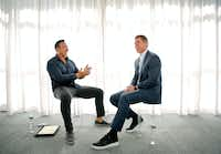 Hall of Fame Dallas Cowboys quarterback Troy Aikman (right) and former Cowboy defensive tackle Tony Casillas share some laughs before doing a United Way of Metropolitan Dallas one-on-one interview at the Joule Hotel in downtown Dallas on February 23, 2017.  (Tom Fox/The Dallas Morning News)