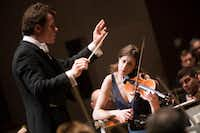 Violinist Vilde Frang performs as guest conductor Jakub Hrusa leads the Dallas Symphony Orchestra in the Benjamin Britten Violin Concerto on Feb. 23 at the Meyerson Symphony Center in Dallas.(<p>(Andrew Buckley/Special Contributor)<br></p><p></p>)