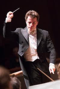 "Guest Conductor Jakub Hrusa leads the Dallas Symphony Orchestra in concert on Feb. 23 at the Meyerson Symphony Center in Dallas.&nbsp;(<p><span style=""font-size: 1em; background-color: transparent;"">(Andrew Buckley/Special Contributor)</span><br></p><p></p>)"
