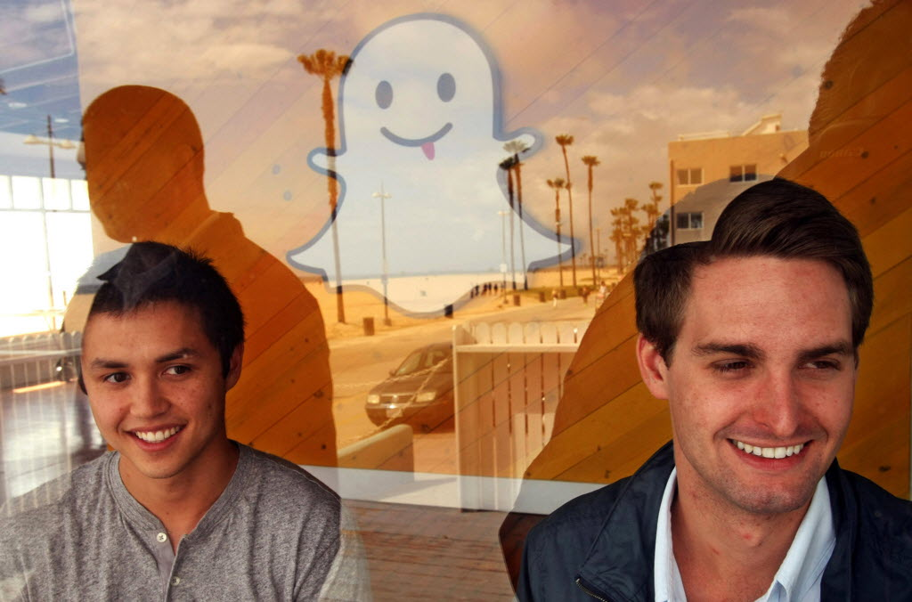 Bobby Murphy 24 left and Evan Spiegel 22 co-creators