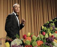 President Barack Obama pumps his fist as he walks to the rostrum during  the White House Correspondents' Association Dinner in Washington, Saturday, April 30, 2011.(Manuel Balce Ceneta/ASSOCIATED PRESS)