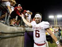 Oklahoma quarterback Baker Mayfield was arrested in Fayetteville, Ark. (File Photo/Jae S. Lee)