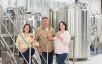 Good Neighbor Brews' opening was welcomed by Alley Harrell, assistant brewer; Darin Peterson, brewer/owner; and Jill Bresnan, co-owner.