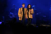 "Randy Travis and Mary Travis sing ""Amazing Grace"" at ""1 Night. 1 Place. 1 Time.: A Heroes and Friends Tribute to Randy Travis"" at Bridgestone Arena on Wednesday, Feb. 8, 2017, in Nashville, Tenn. (Photo by Laura Roberts/Invision/AP)"