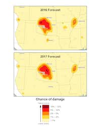 "<p><span style=""font-size: 1em; background-color: transparent;"">A comparison of USGS one-year hazard forecasts for 2016 and 2017 in the central and eastern U.S. The maps show a steep decline in North Texas and a new small area of hazard in the Permian Basin of West Texas. The USGS reports a high hazard for earthquakes in five areas: Oklahoma-Kansas, the Raton Basin, north Texas, north Arkansas, and the New Madrid Seismic Zone.</span><br></p><p></p>(USGS)"