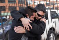 Juan Carlos Hernandez Pacheco, right, who was arrested last week for being an illegal immigrant, embraces a friend after being released on bond in downtown St. Louis, March 1, 2017. The presiding judge cited the support Hernandez got from residents and law enforcement officials of the small Illinois town of West Franklin, where he managed a restaurant. (Nick Schnelle/The New York Times)(NYT)