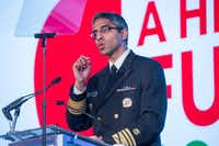 "Surgeon General Vivek Murthy speaks about his report calling for a ""cultural shift in how we think about addiction."" (NurPhoto)"