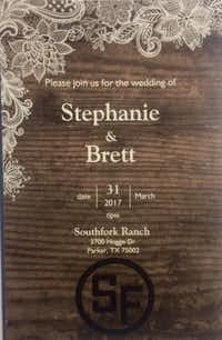 The invitation to Hoskins and Joseph's planned wedding at Southfork Ranch.(Courtesy of Stephanie Hoskins)