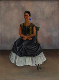 This painting is included in the new show at the Dallas Museum of Art. Here are the details: Frida Kahlo Itzcuintli Dog with Me (Perro Itzcuintli conmigo), c. 1938 Oil on canvas Overall: 27 15/16 x 20 15/32 in. (71 x 52 cm) Private Collection   2017 Banco de Mexico Diego Rivera Frida Kahlo Museums Trust, Mexico, D.F. / Artists Rights Society (ARS), New York Front (Framed)(Dallas Museum of Art)