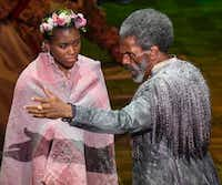 Trinity Hawkins, left, plays Miranda and Andre de Shields plays Prospero in Dallas Theater Center's 'The Tempest,' a Public Works Dallas production at the Wyly Theatre on March 3, 2017. (Robert W. Hart/Special Contributor)