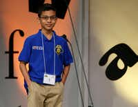 "Sohum Sukhatankar, 10, of Allen smiled Saturday after spelling ""decamerous"" to win the 59th annual Dallas Regional Spelling Bee.&nbsp;(<p>(Vernon Bryant/The Dallas Morning News)</p>)"