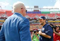 A file photo of Dallas Cowboys owner and general manager Jerry Jones and quarterback Tony Romo on Sept. 18, 2016. (Vernon Bryant/The Dallas Morning News)