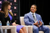 "<p><span style=""font-size: 1em; background-color: transparent;"">Former NFL All-Pro running back Ray Rice discusses his history of domestic violence during a  panel discussion in September 2016 at the Belo Mansion in Dallas. Rice was recorded on security video knocking his then-fiancee unconscious in an Atlantic City casino elevator in February 2014.</span></p>((File 2016/Tom Fox))"