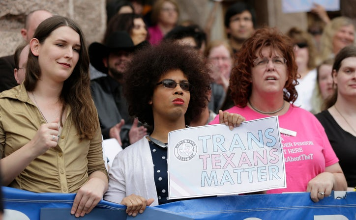Members of the transgender community take part in a rally on the steps of the Texas Capitol  Monday  March 6  2017  in Austin  Texas. Bathroom bill energizes Texas transgender community ahead of first