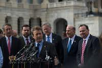 Backed by members of the conservative House Freedom Caucus, Kentucky Sen. Rand Paul expressed their opposition to the GOP's proposed Obamacare substitute, the American Health Care Act, on Tuesday. (Gabriella Demczuk/The New York Times)