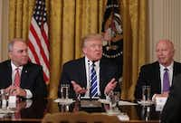 U.S. President Donald Trump (C) speaks as House Majority Whip Rep. Steve Scalise (R-LA) (L) and Rep. Kevin Brady (R-TX) (R) listen during a meeting with the House Deputy Whip team at the East Room of the White House March 7, 2017 in Washington, DC.  (Alex Wong/Getty Images)
