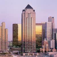 The 50-story Trammell Crow Center is at Ross Avenue and Harwood Street in downtown Dallas' Arts District.(DMN files)