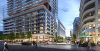 A new high-rise under construction in Victory Park will add a 750-seat cinema, 20,000 square feet of retail and apartments.(<p>Estein USA<br></p><p></p>)