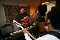 Max Hartman practices with his band Mur at his home in Dallas. (<p>(Michael Ainsworth/Special Contributor)<br></p><p></p>)