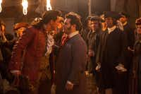 "This image released by Disney shows Luke Evans as Gaston, left, with Josh Gad as LeFou, in ""Beauty and the Beast."" (Laurie Sparham/Disney via AP)(AP)"