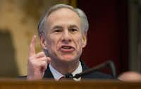 Texas Gov. Greg Abbott delivers his State of the State address to a joint session of the House and Senate at the Texas Capitol in Austin in January. (Stephen Spillman/AP)