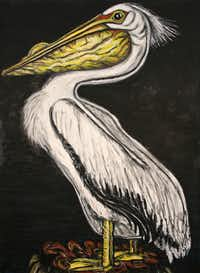 "Frank X. Tolbert2 , <i>White Pelican, 2015</i>, Oilstick on paper, 60"" x 44""(William Campbell Contemporary)"