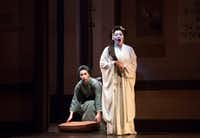 Hui He (right) and Manuela Custer perform during a rehearsal of Dallas Opera's Madame Butterfly at Winspear Opera House in Dallas, Texas, Tuesday, March 7, 2017. (Allison Slomowitz/ Special Contributor)(Special Contributor)