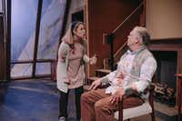 Lisa Fairchild plays Cynthia, who has tied up her husband, Ken, played by John S. Davies, in <i>Deer</i>, a world premiere by Aaron Mark at Stage West in Fort Worth through April 9.((Evan Woods))