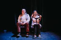 "John S. Davies and Lisa Fairchild play married couple Ken and Cynthia driving to their house in the Poconos in ""Deer,"" a world premiere by Aaron Mark at Stage West in Fort Worth through April 9.((Evan Woods))"