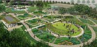 An overview rendering of the Dallas Arboretum's A Tasteful Place, its new edible garden, which is scheduled to open in the fall.