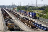 Union Pacific has a large terminal at the southern Dallas County inland port. (Louis DeLuca/Staff Photographer)