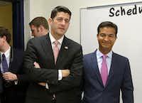 House Speaker Paul Ryan of Wis., left, and Rep. Carlos Curbelo, R-Fla., right. (AP Photo/Alan Diaz)(AP)