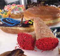 Colorful sugary creations entice doughnut lovers 24-hours a day at Voodoo Doughnut, Portland. ((Janis Turk))