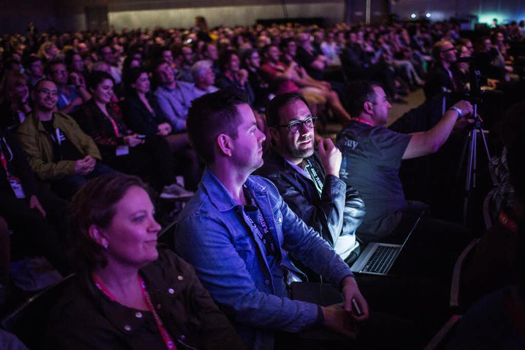 A packed room listens to Casey Neistat speak on March 11, 2017 during a SXSW Interactive featured session at the Austin Convention Center. (Tamir Kalifa/Austin American-Statesman/TNS)(TNS)