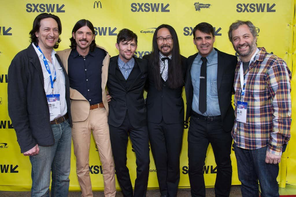 (L-R) Producer Michael Bonfilio, musicians Seth Avett, Scott Avett, Joe Kwon, Bob Crawford, and Producer/director Judd Apatow attend the 'May It Last: A Portrait Of The Avett Brothers' premiere 2017 SXSW Conference and Festivals on March 15, 2017 in Austin, Texas. / AFP PHOTO / SUZANNE CORDEIROSUZANNE CORDEIRO/AFP/Getty Images(AFP/Getty Images)