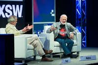Time Magazine's Jeffrey Kluger (L) and Buzz Aldrin participates in a featured session during The South by Southwest (SXSW) Interactive Conference at the Austin Convention Center on March 14, 2017 in Austin, Texas. / AFP PHOTO / SUZANNE CORDEIROSUZANNE CORDEIRO/AFP/Getty Images(AFP/Getty Images)