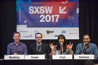 "(Left to right) David Blumberg, Matthew Cooper, Tanis Jorge, and Anthony Heckman sit on a panel entitled ""Beyond Brogrammers: Diversity in Tech & VC"" during the 2017 SXSW Conference Austin, Texas on March 11, 2017. The panel addressed a small audience of diverse business owners to discuss strategies for winning the favor of venture capital. (Julia Robinson/Special Contributor)(Special Contributor)"